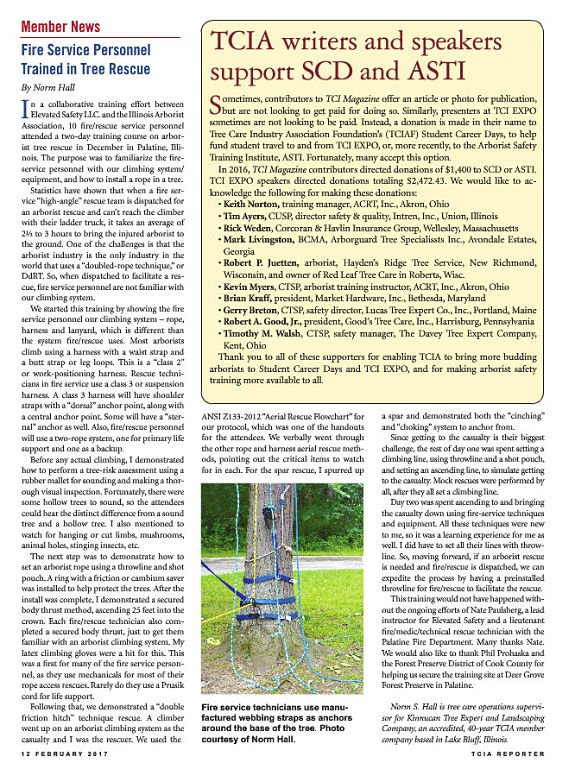 Article about tree rescue.